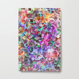 Rainbow Hydrangea Doodle Metal Print