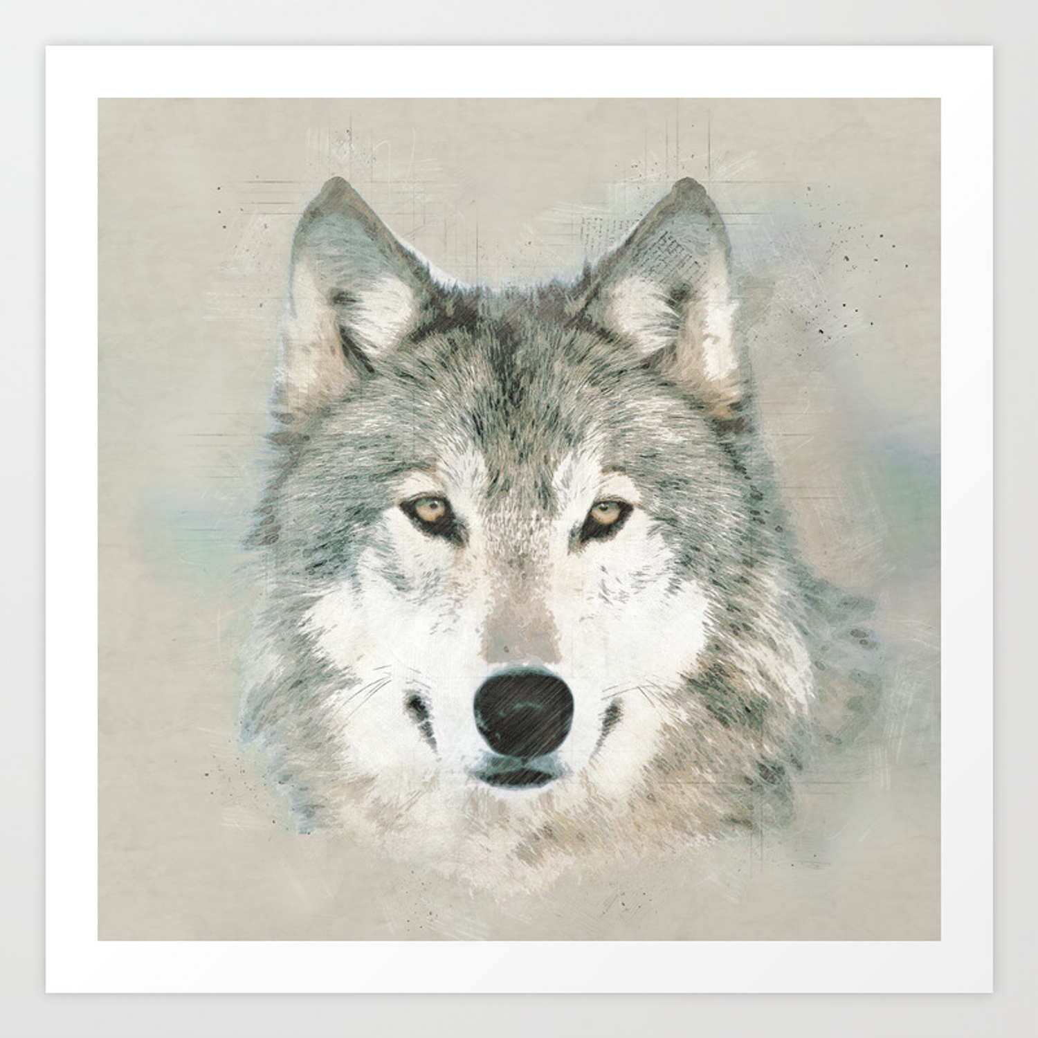 The Gray Wolf Sketch Art Print By Sonqblack Society6