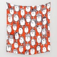 faces Wall Tapestries featuring Faces by Pritika Mathur