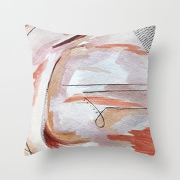 Away: an abstract mixed media piece in pinks and reds Throw Pillow