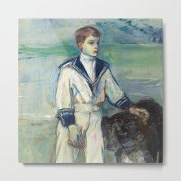 """Henri de Toulouse-Lautrec """"L'Enfant au chien, fils de Madame Marthe et la chienne Pamela-Taussat"""" Metal Print"""
