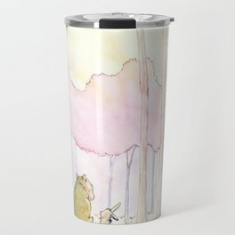 Unlikely Friendship Large Print (Bunny and Bear in the Woods) Travel Mug