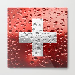 Flag of Switzerland - Raindrops Metal Print