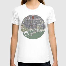 Barcelona city map engraving T-shirt