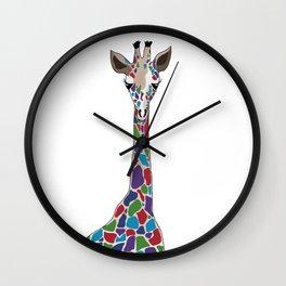 Polychromatic Giraffe Wall Clock