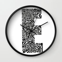 Alphabet Letter E Impact Bold Abstract Pattern (ink drawing) Wall Clock