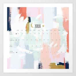 Moon Phases Calendar 2018 - Abstract Art Print