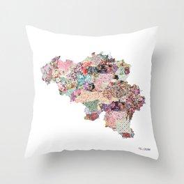 Belgium map Throw Pillow