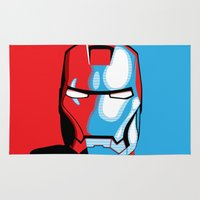 iron man Area & Throw Rugs featuring Iron Man by C.Rhodes Design