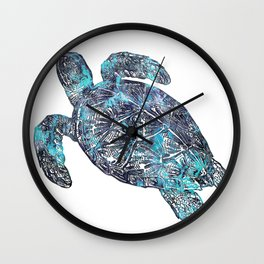 Sea Turtle Blue Watercolor Art Wall Clock
