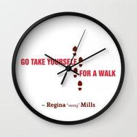 regina mills Wall Clocks featuring Regina Sassy Mills | Go take yourself for a walk by CLM Design