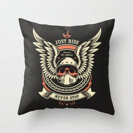 Motorcycle Club Illustration Throw Pillow