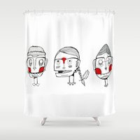 faces Shower Curtains featuring Faces by Bare Wolfe