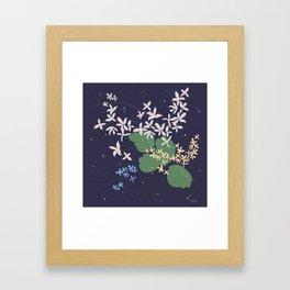 Flowers And Starry Sky Framed Art Print