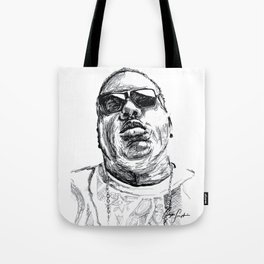 Digital Drawing 33 - Notorious B.I.G. Black and White Tote Bag