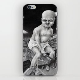 Attack of the Giant Baby - charcoal drawing iPhone Skin