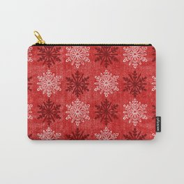 Velvety Red Christmas Snowflake Pattern Carry-All Pouch
