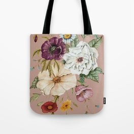 Colorful Wildflower Bouquet on Pink Tote Bag
