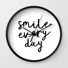 Smile Every Day black and white contemporary minimalism typography design home wall decor bedroom Wall Clock