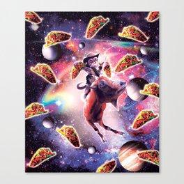 Cowboy Space Cat On Goat Unicorn - Taco Canvas Print