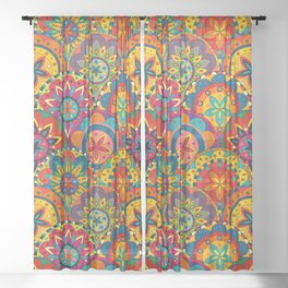 Funky Retro Pattern Mandalas Sheer Curtain