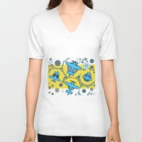 airplanes V-neck T-shirts featuring blue airplanes by Isabella Asratyan