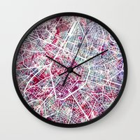 brussels Wall Clocks featuring Brussels Map by MapMapMaps.Watercolors