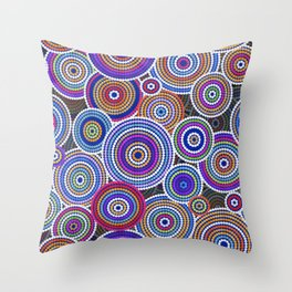Colorfull Aboriginal Dot Art Pattern Throw Pillow