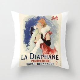 Belle Epoque vintage poster, Sarah Bernhardt, La Diaphane Throw Pillow