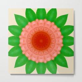 Circular Pink Carnation Floral Kaleidoscope Digital Painting Metal Print