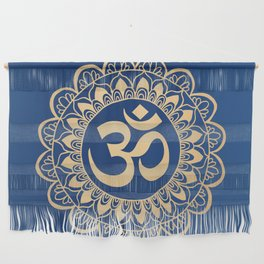 Blue and Gold Ohm Mandala Wall Hanging