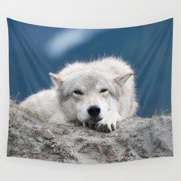 Sleepy Wolf Wall Tapestry
