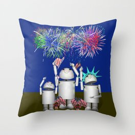 Robo-x9 & Family Celebrate the 4th of July Throw Pillow