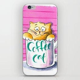 Coffee cat iPhone Skin