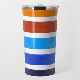 Blue & Brown Geometric Pattern Travel Mug