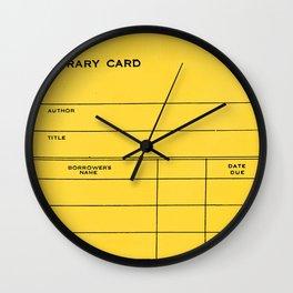 Library Card BSS 28 Yellow Wall Clock