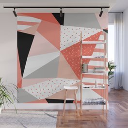 Just Peachy Stripes: Retro 80s Triangle Pattern And Neon Pop Art 1980s Style Wall Mural
