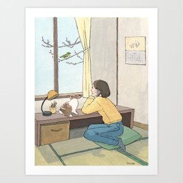 Waiting spring at Japanese‐style room Art Print