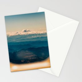 Mount Rainier seen through an airplane window Stationery Cards
