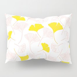 Pink Gingko Leaves, Yellow Gingko Leaves, Gingko Pattern Pillow Sham