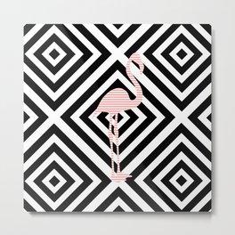 Flamingo - Abstract geometric pattern - black and white. Metal Print