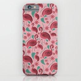 Flamazing day flamingos pattern pink background iPhone Case