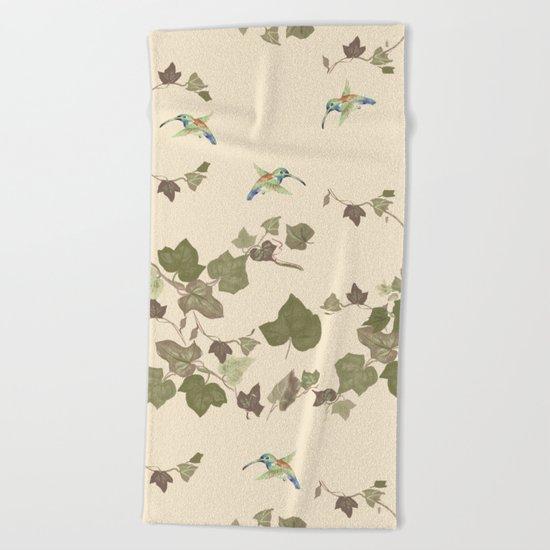 Ivy & hummingbird Beach Towel
