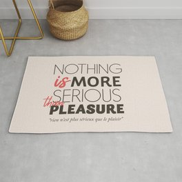 Jean Cocteau quote, nothing is more serious than pleasure, hedonism, enjoy life, live at full, art Rug