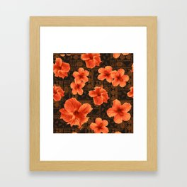 Kalalau Tapa Hawaiian Hibiscus Vintage Inspired Print Framed Art Print