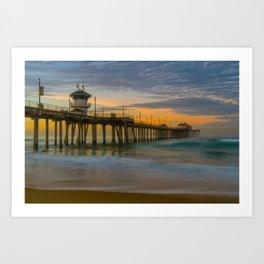 Long Exposure Sunrise at Huntington Pier Art Print
