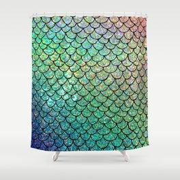 Colorful Glitter Mermaid Scales II Shower Curtain