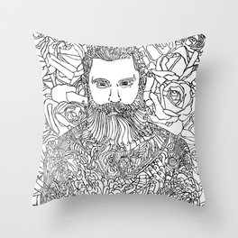 Tattooed with Roses Throw Pillow