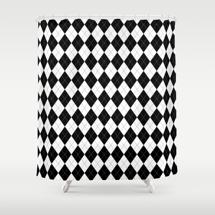 Black White Argyle Pattern Geometric Shower Curtain