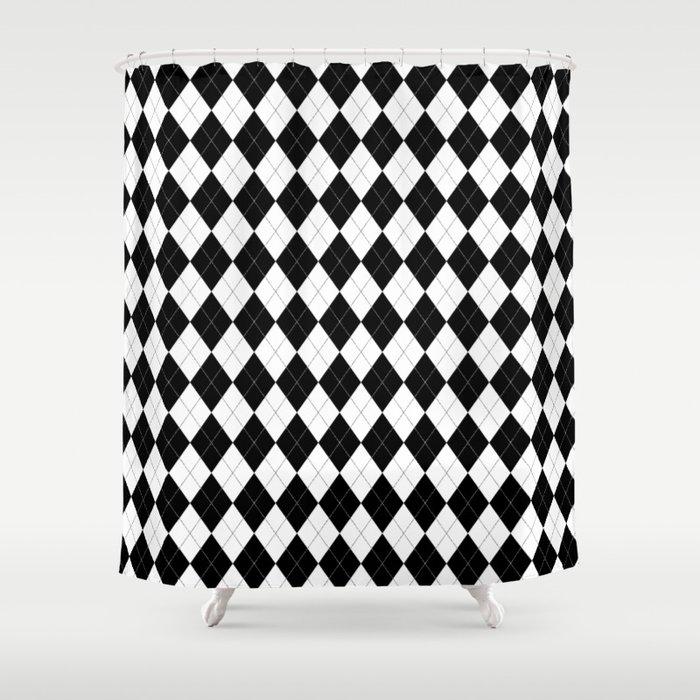 Black White Argyle Pattern Geometric Shower Curtain